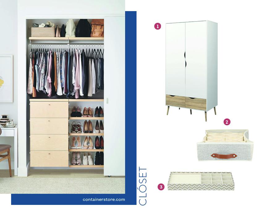 Dormitorio organizado con closets