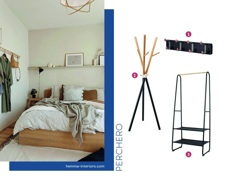 Dormitorio de pareja organizado on percheros