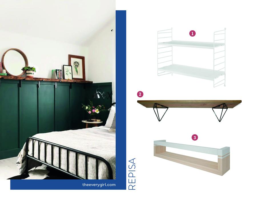 Organizacion dormitorio con repisas