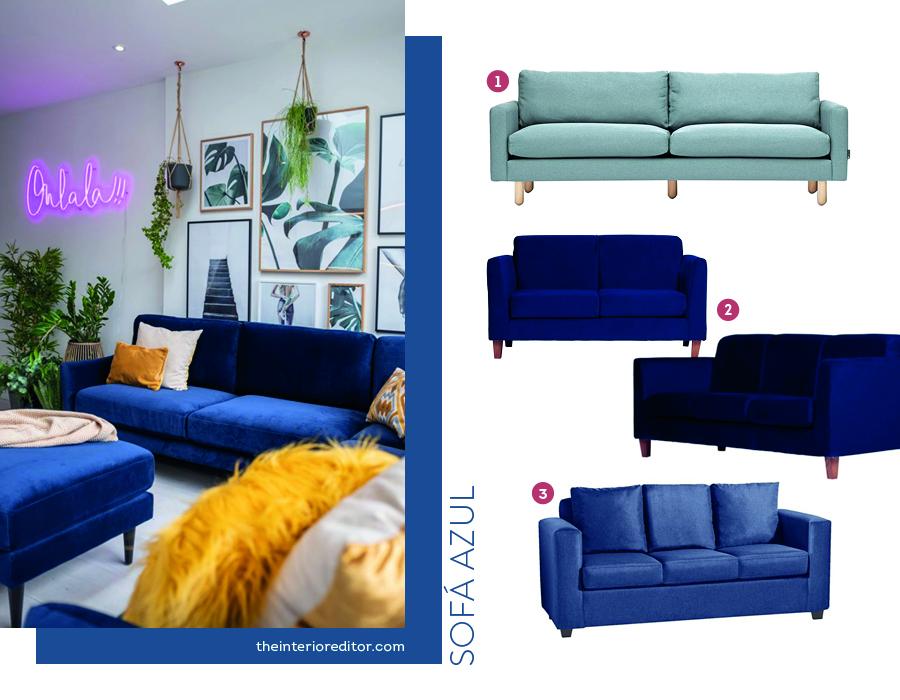 Opciones de sofás de color azul para el living