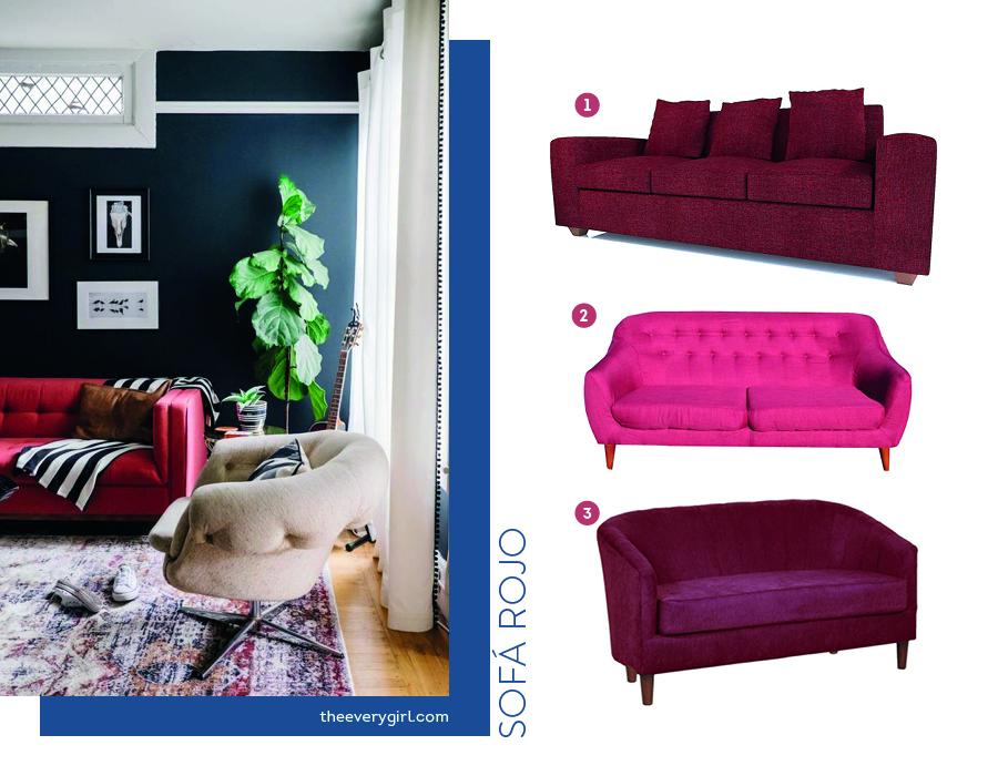 opciones de sofás en tonos de color rojo para el living