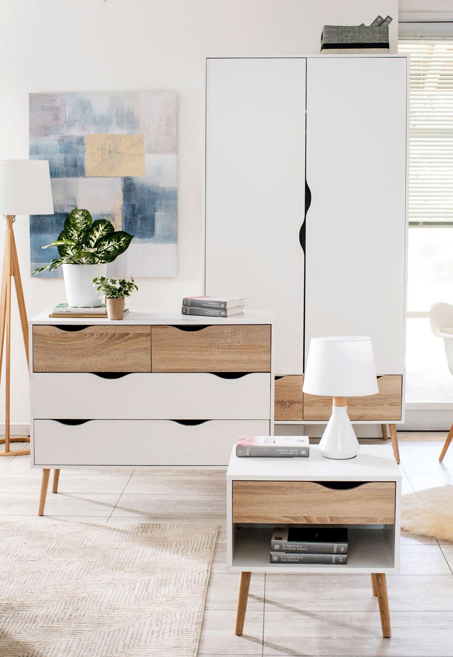 kit de living estilo nórdico en blanco y madera