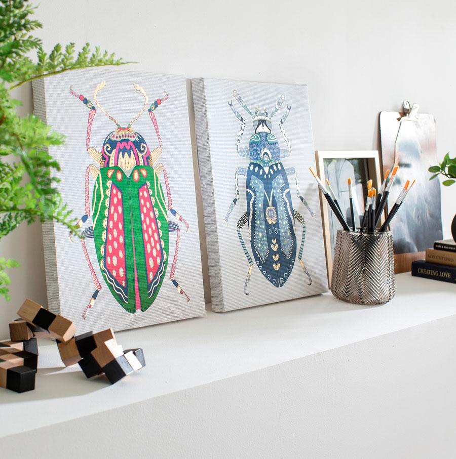 Cuadros decorativos con insectos de colores