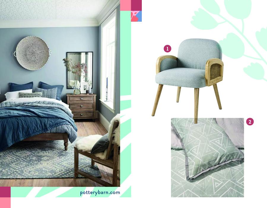 ambientación de dormitorio con cubrecama estampado con poltrona boho, en tonos grises y azules