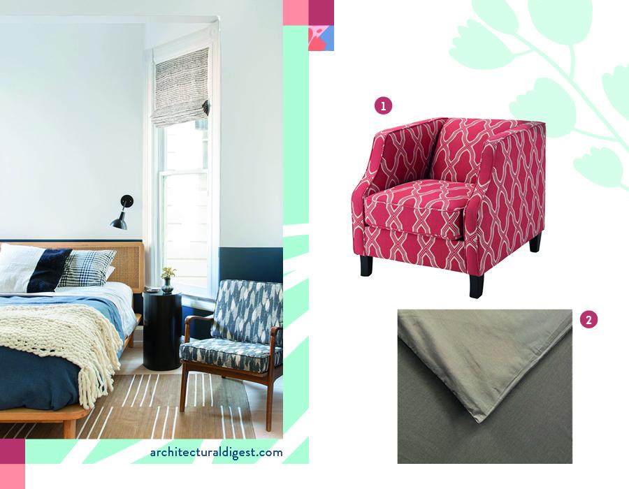 decoración de dormitorio moderno ambientación con cubrecama liso y poltrona estampada