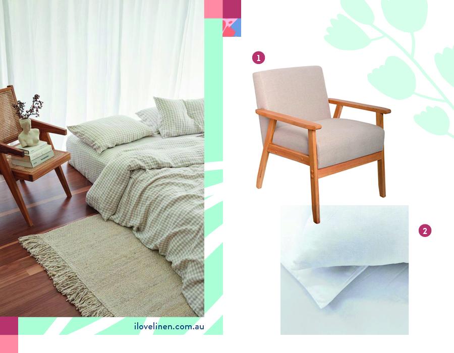 combinación lino y masera para la decoración de dormitorio