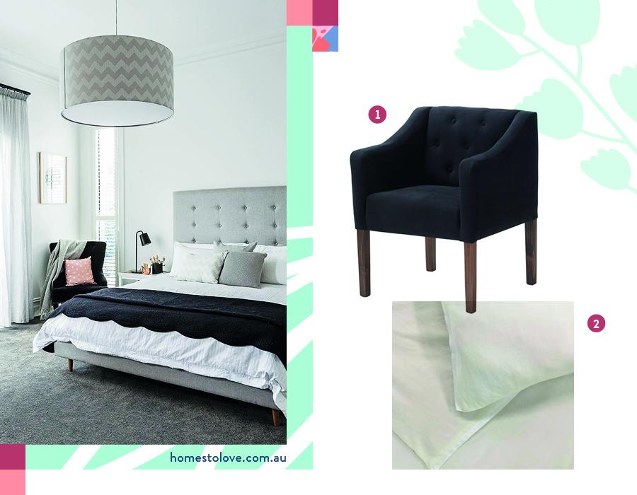 combinación de dormitorio en negro, blanco y gris. Poltrona negra con gran lámpara de techo