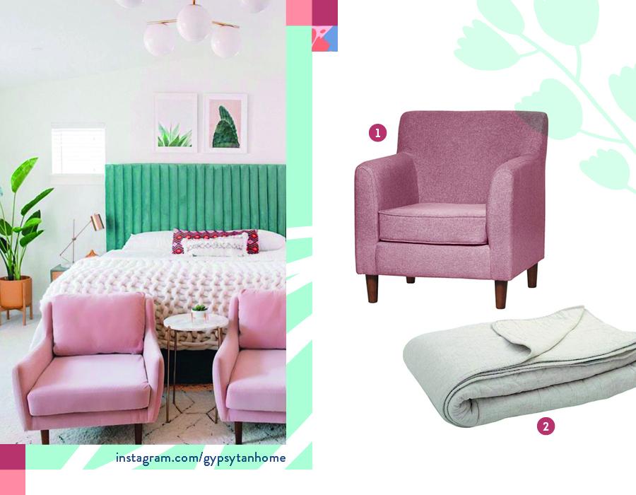 look de dormitorio moderno con poltronas rosadas y tonos verdes, con un cubrecama de punto look boho