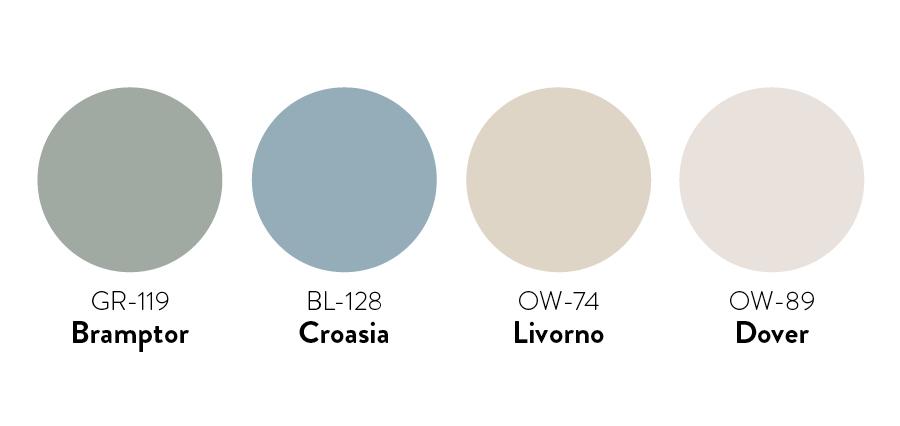 paleta de colores de pintura propuesto para un look de decoración clásica, con enlace a pinturas Kolor en Sodimac.com