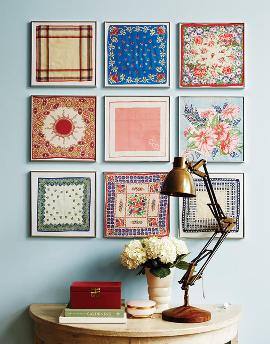 muro canvas de elementos cuadrados hechos con textil