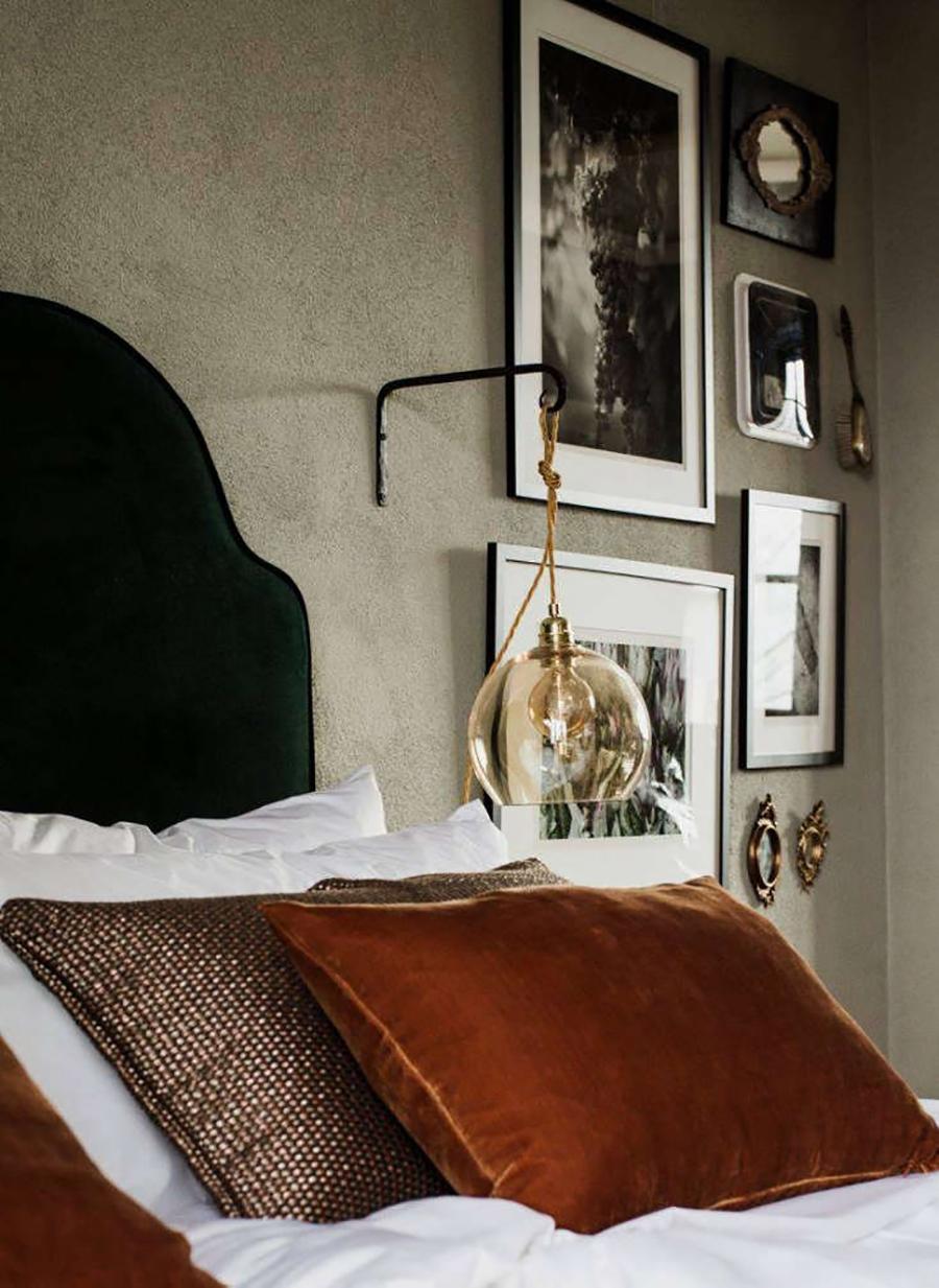 lámpara de muro colgante con look vintage para decoracicón de dormitorio