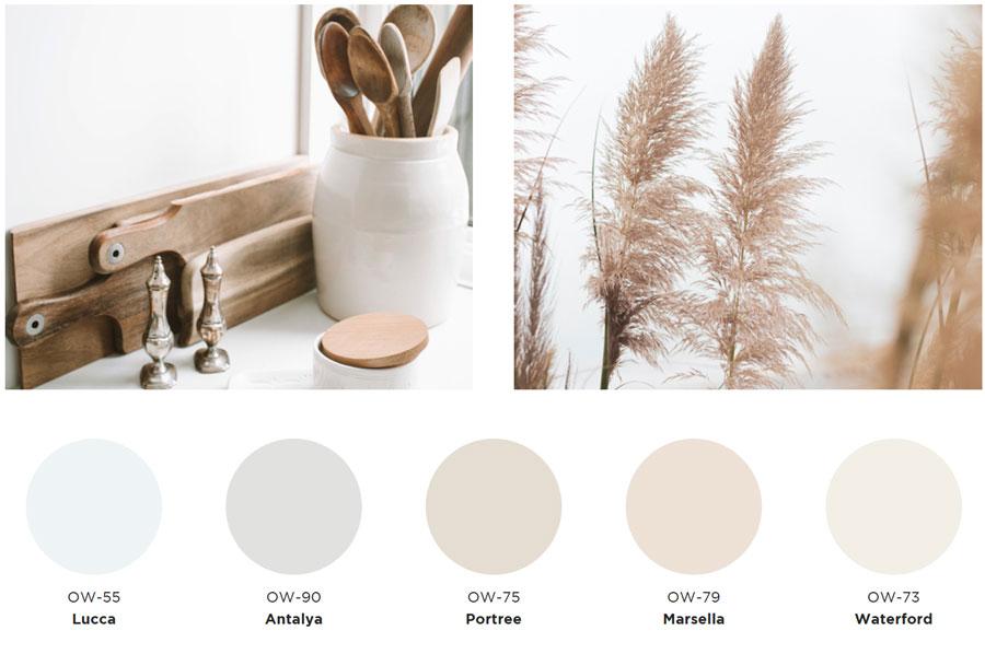 Paleta de colores en tonos claros y neutros, con beige, grises y celestes.