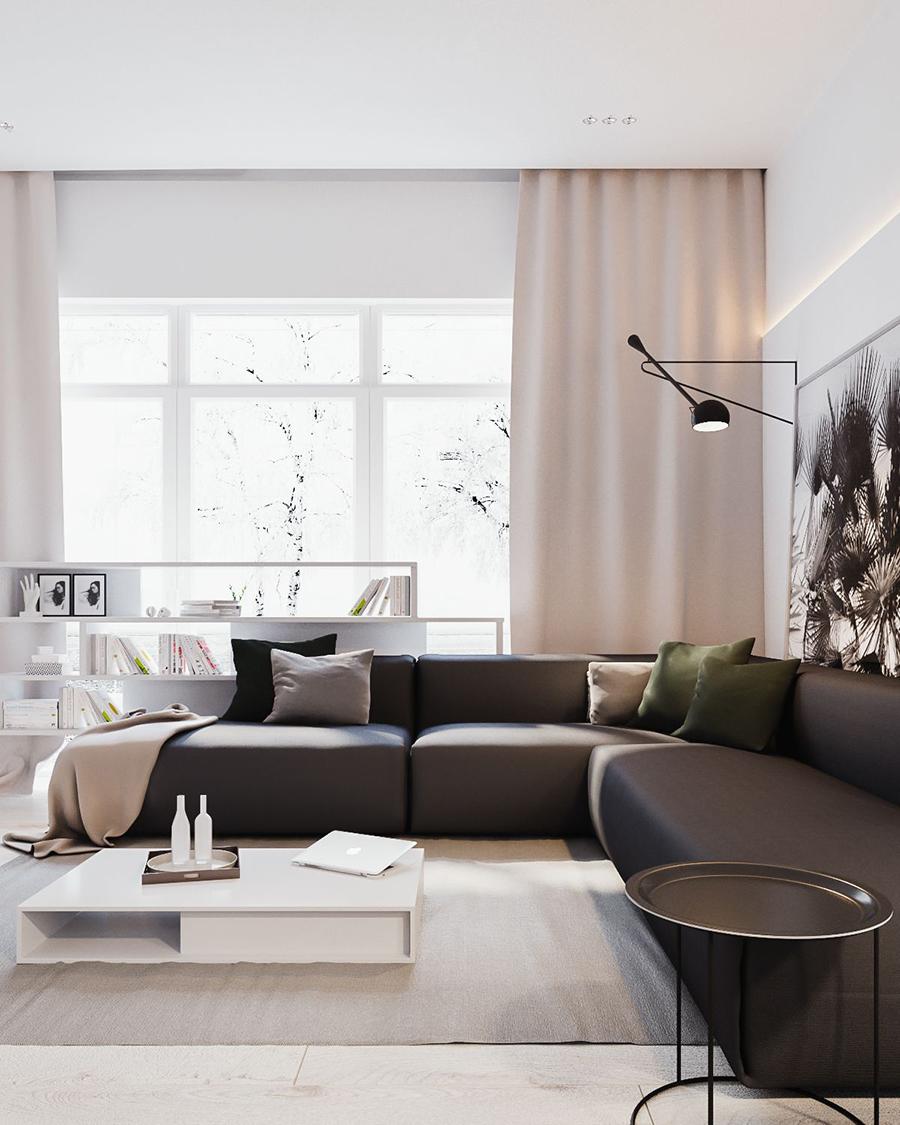 Un living con un gran sofá gris modular, de decoración ejecutiva urbana y con vibras eclécticas