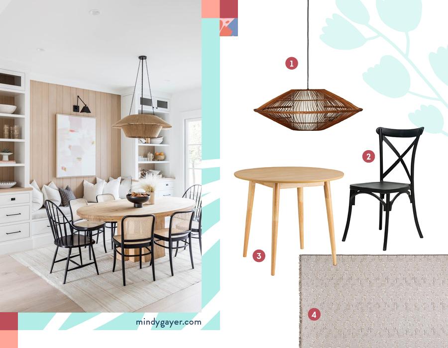 Una foto ambientada de un comedor estilo boho y una selección de 4 productos: 1-Lámpara de colgar mimbre / 2-Silla negra / 3-Mesa de comedor redonda / 4-Alfombra gris