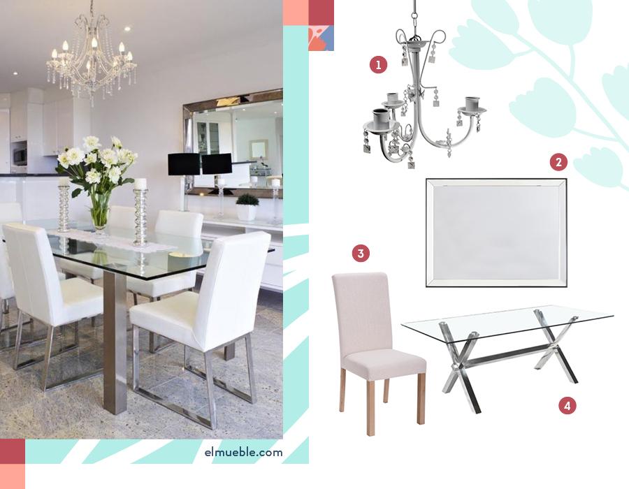 Ambientación de un comedor en que la pieza clave es una mesa de vidrio. Destacan 4 productos: 1-Lámpara colgante lagrimas / 2-Espejo doble bisel / 3-Silla beige / 4-Mesa comedor nadia