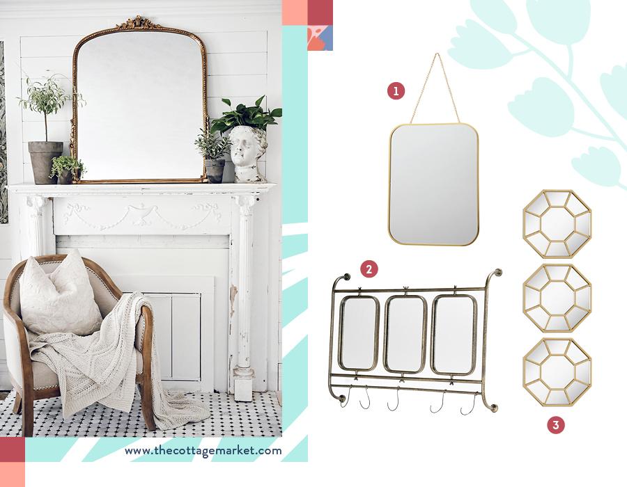 Una imagen divida en dos. En la de la izquierda, una ambientación para decorar tu casa donde predomina el color blanco, con un gran espejo de marco dorado que es el protagonista. En la imagen de la derecha, una selección de tres estilos de espejos con marcos dorados.
