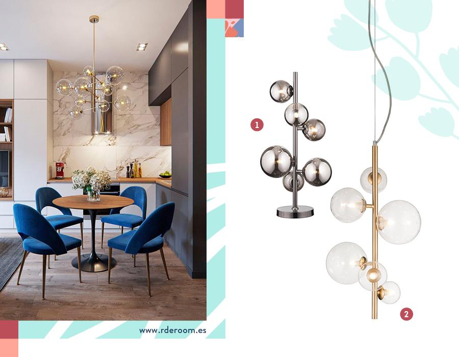Una imagen divida en dos. En la imagen de la izquierda, una ambientación donde una lámpara colgante con varias ampolletas es la protagonista. En la imagen de la derecha, una selección de dos lámparas con varias ampolletas cada una.