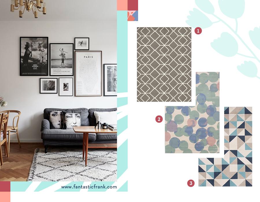 En la primera fotografía, hay una alfombra color beige con un patrón geométrico de diamantes en gris. En la segunda fotografía, hay una selección de 3 alfombras con patrones geométricos.