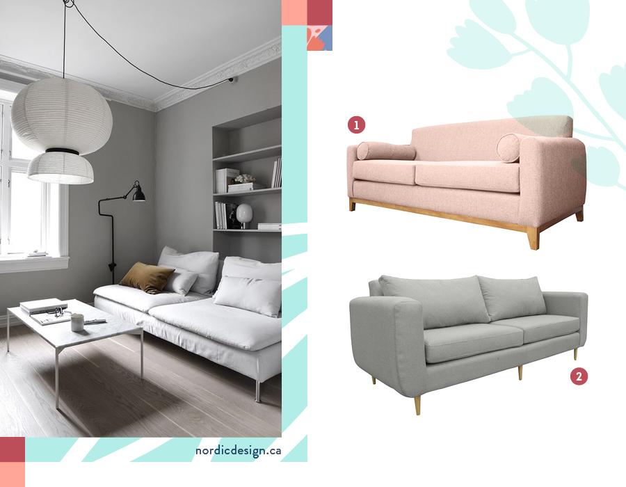 Living con sofá minimalista. Una selección de dos sillones: Sofá 3 cuerpos aisea palo rosa y Sofá amberes 2 cuerpos chenille gris