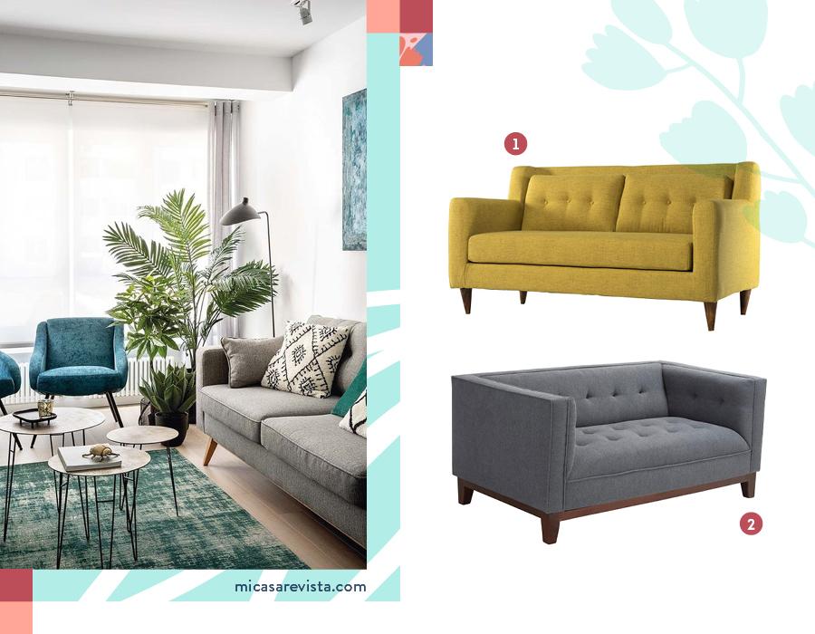 Selección de sofás pequeños, de dos cuerpos. Uno mostaza y otro gris.