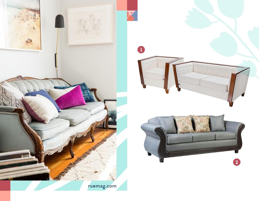 Living con sofá de madera. Selección de dos sofá con marco de madera, uno blanco y el otro gris oscuro