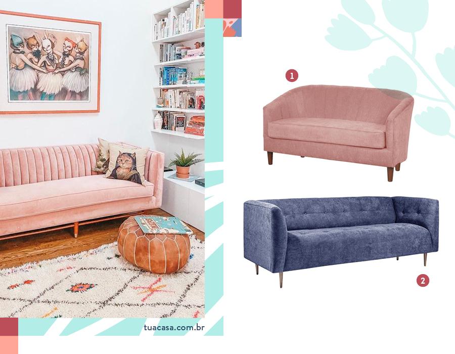 Selección de dos sofá vintage. Uno de terciopelo con forma de concha, de color rosa. Otro de tela azul oscuro.