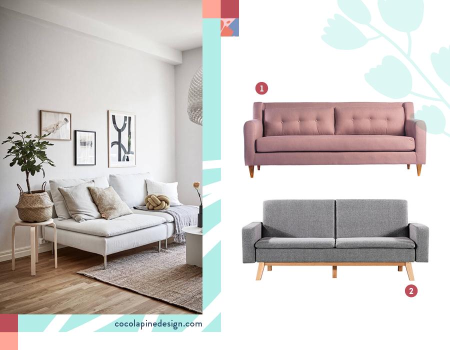 Selección de dos sillones nórdicos: Sofá 3 cuerpos apartment palo rosa y Futón gris