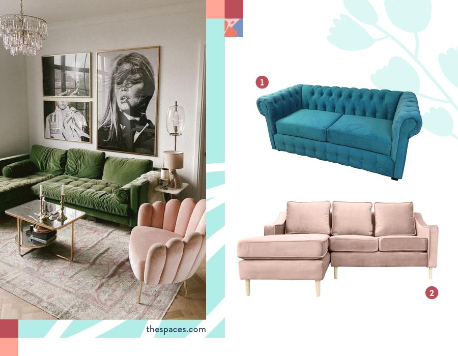 Living con sofá de terciopelo, estilo velvet. Selección de dos sillones: Sofá 3 cuerpos turquesa y Seccional linz 3 cuerpos palo rosa