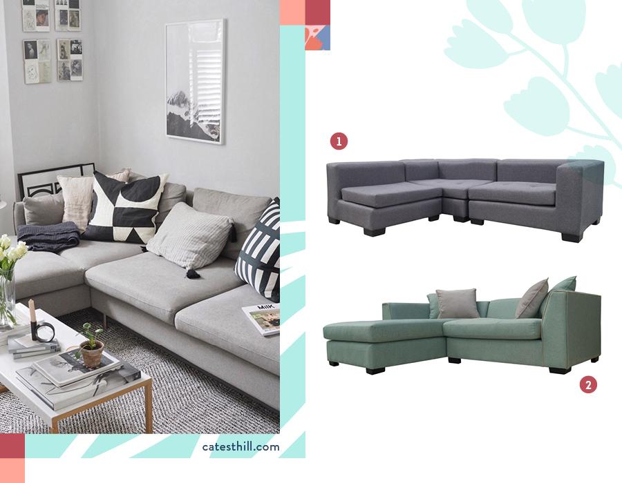 Un living con sofá seccional en forma de L. Selección de dos sillones: Sofá 3 cuerpos turquesa y Seccional linz 3 cuerpos palo rosa