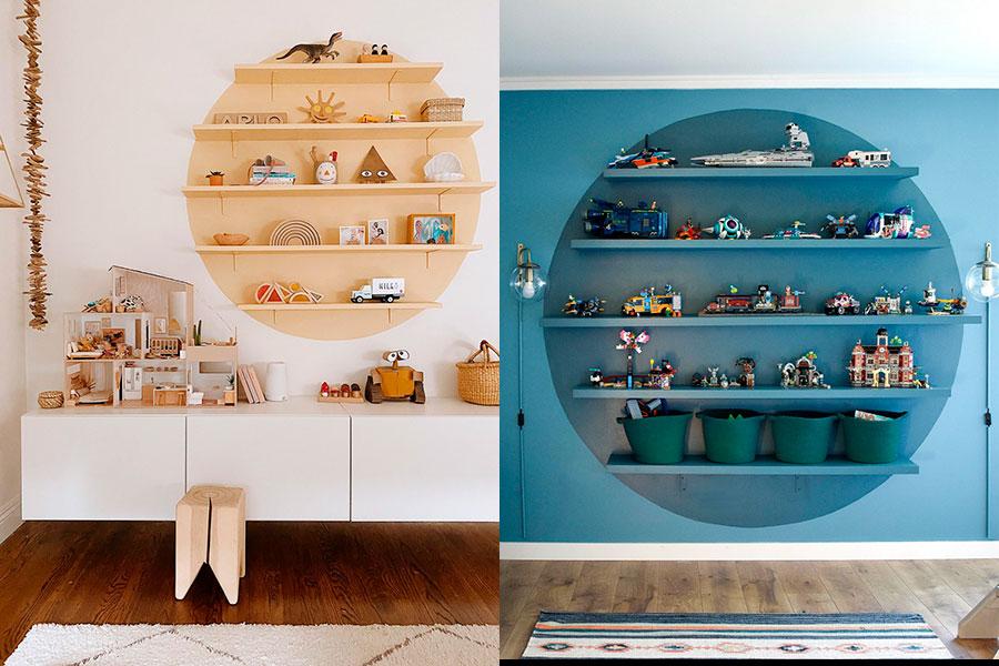 Dos ejemplos de dormitorios infantiles con un gran círculo pintado en la pared, con repisas flotantes para guardar juguetes y decoraciones en un espacio delimitado.