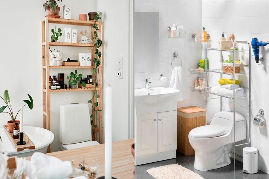 Estanterías de patas largas para poner objetos sobre el WC, de metal o madera.