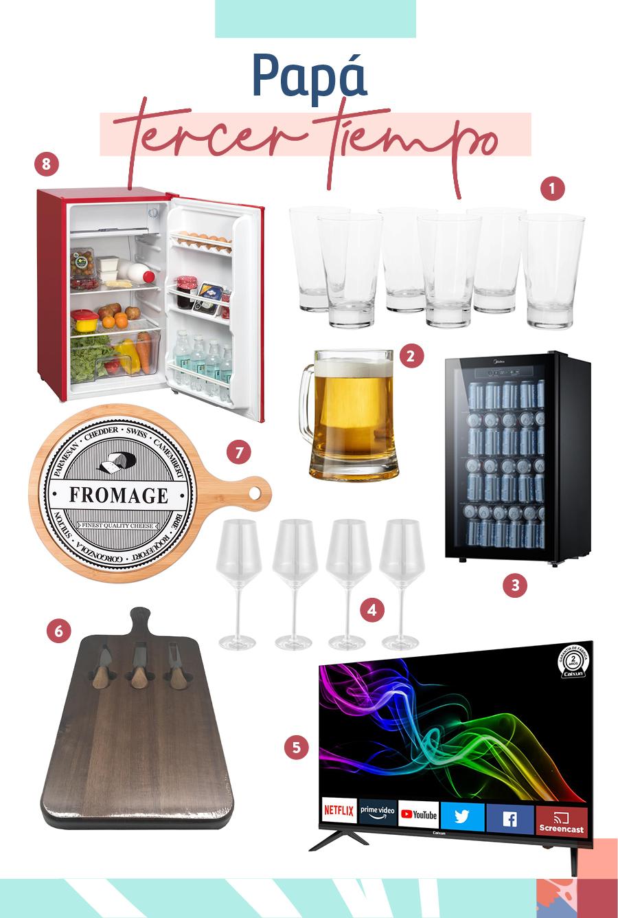 """Selección de regalos para el """"Papá tercer tiempo"""": 1- Set 6 vasos de vidrio / 2-Jarro cervecero / 3-Beer cooler / 4-Set 4 copas / 5-Led ultra HD smart / 6-Tabla para quesos / 7-Tabla para quesos cerámica y madera / 8-Frigobar 90 lts"""