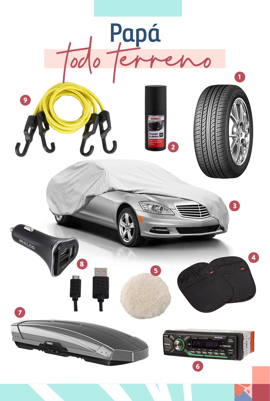 """Selección de regalos para """"Papá todo terreno"""": 1-Neumático / 2-Renovador de plástico / 3-Funda para auto XL / 4-Protectores de respaldo / 5-Funda pulidora / 6-Radio mp3 / 7-Thule motion titan / 8-Kit cargador rápido auto / 9-Set de pulpos amarillo"""