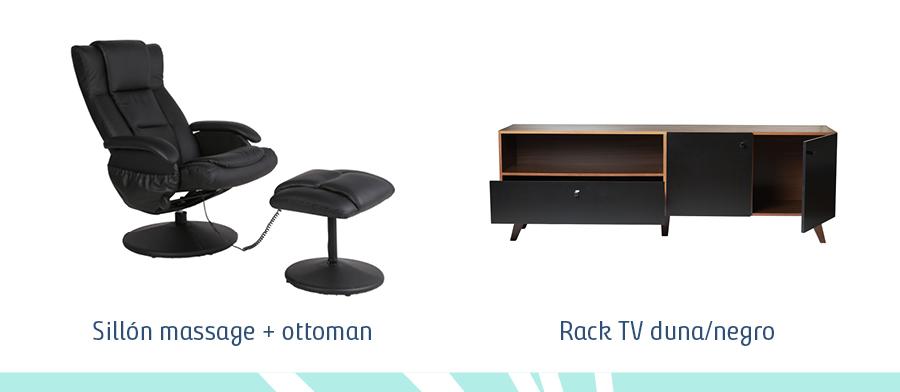 Sillón de masaje y ottoman negros y rack de tv negro con madera oscura, ambos estilo ejecutivo urbano.