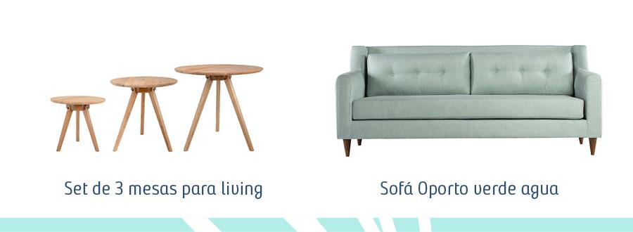 Set de 3 mesas para living de madera y un sofá modelo Oporto de color verde agua.