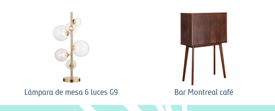Selección de productos en estilo vintage moderno. Lámpara de mesa de 6 luces y un mueble de bar modelo Montreal en color café oscuro.