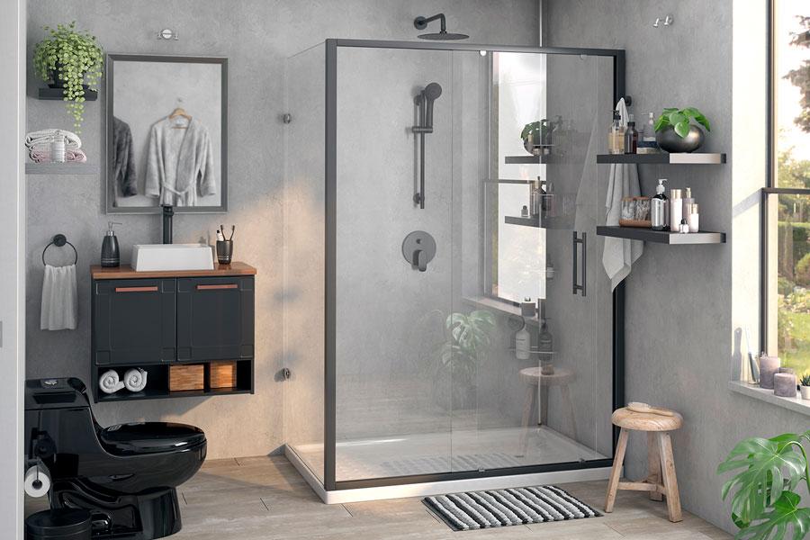 """Un baño con estilo ejecutivo urbano, con una decoración que evoca la frase """"menos es más""""."""