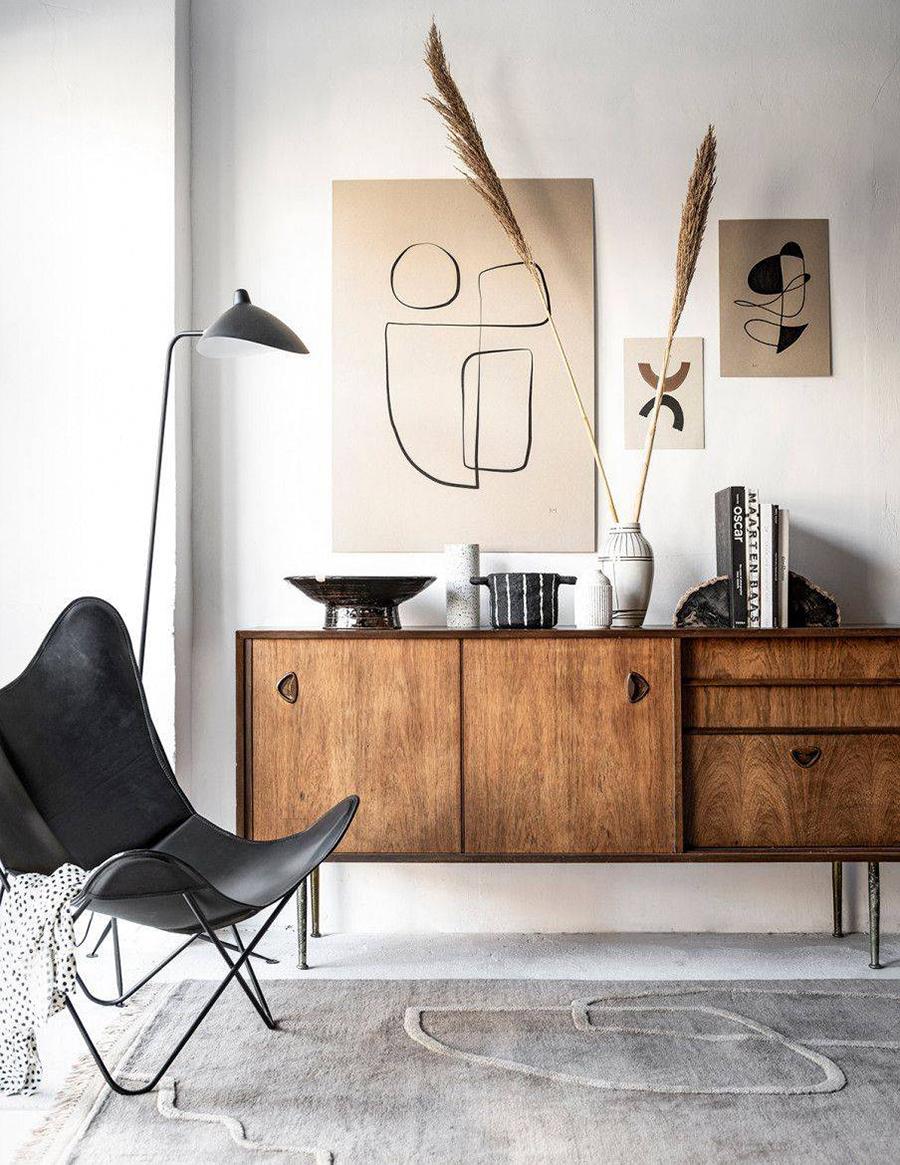Distintos elementos decorativos que celebren lo artesanal quedan muy bien en la decoración de living de invierno.