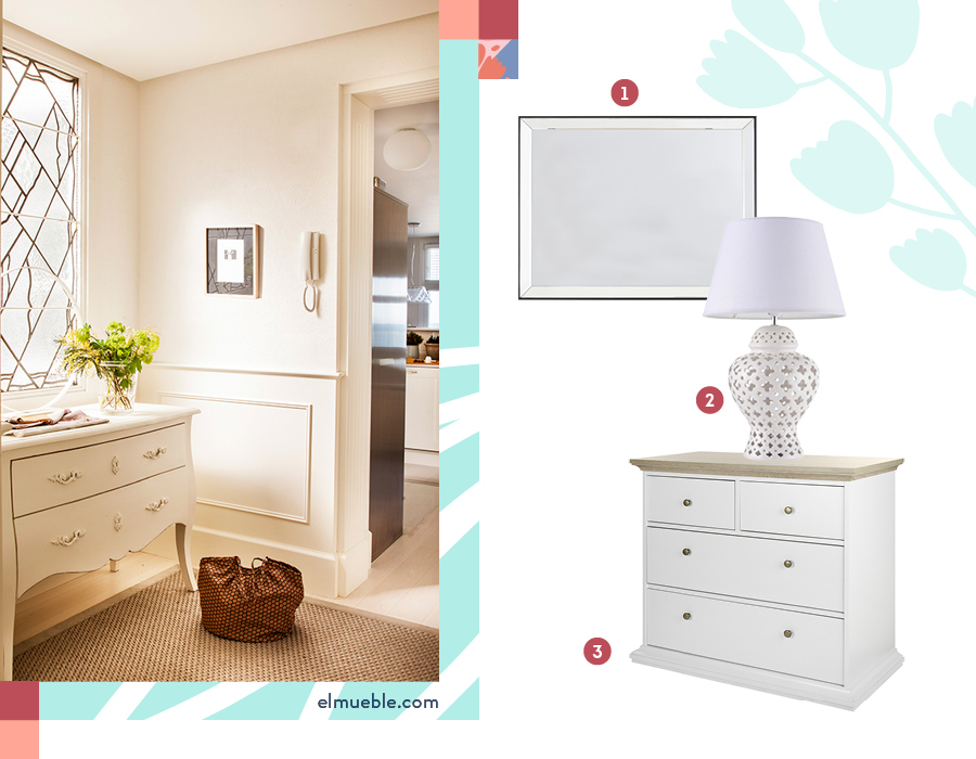 Una cómoda en el recibidor queda muy bien. En la foto de la derecha hay una selección de productos: 1-Espejo doble bisel / 2-Lámpara de mesa bodrum / 3-Cómoda 4 cajones