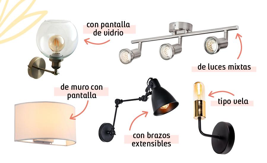 En la imagen hay lámparas que ejemplifican cada uno de los tipos de apliqué: con pantalla de vidrio, de muro con pantalla, de luces mixtas, con brazos extensibles y tipo vela.