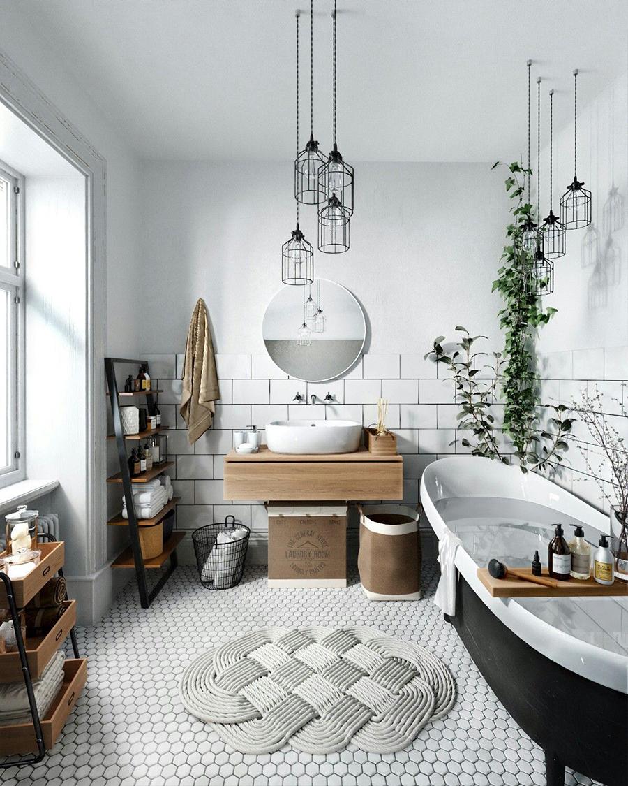 En la foto hay un ejemplo de un baño decorado en estilo nórdico.
