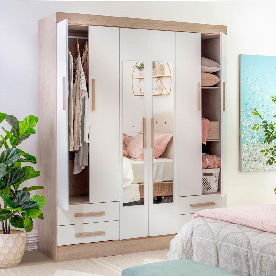 Un clásico para el dormitorio, con puertas que mantendrán tus cosas ocultas.