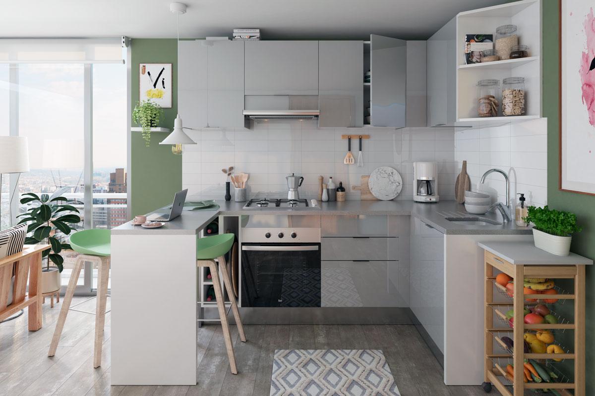 """Esta imagen es parte del artículo """"Ideas para tu cocina: las tendencias más top de 2021"""", y muestra a una cocina isla"""
