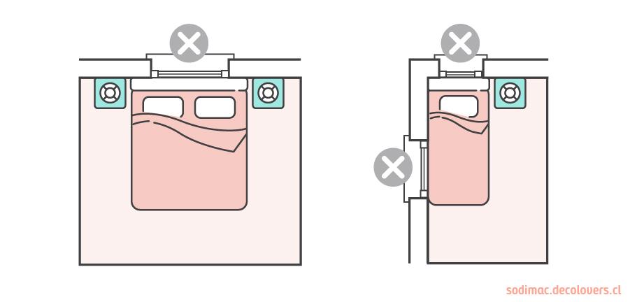 En la imagen se muestran dos dibujos de camas, una matrimonial y otra individual. En ambas la cabecera está ubicada al frente de la ventana.