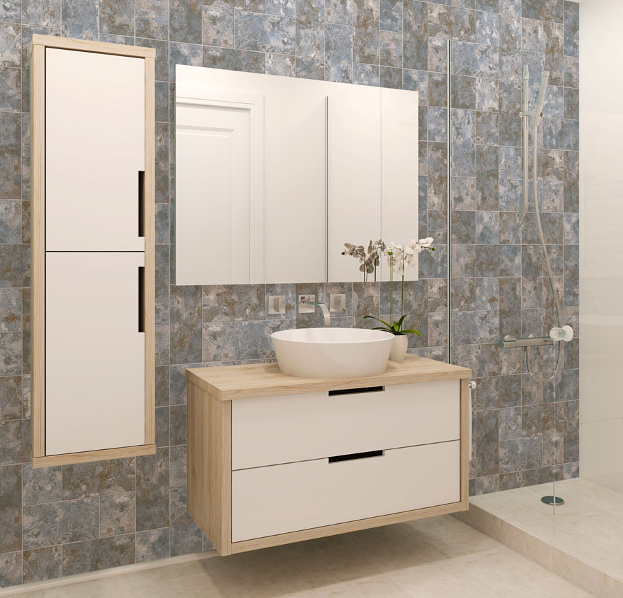 Ejemplo de una pared en el baño, con apariencia de azulejos marmolados.