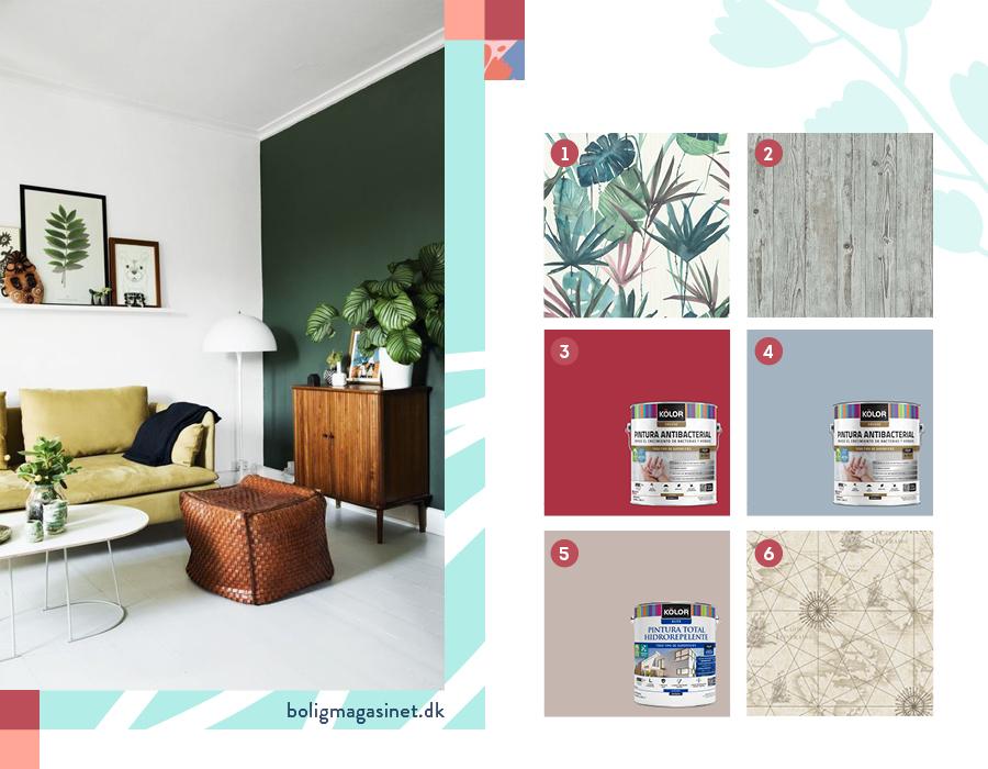 En la imagen se muestran papeles decomurales con diseño botánico y de mapa, y pinturas en tonos rojos y grisáceos.