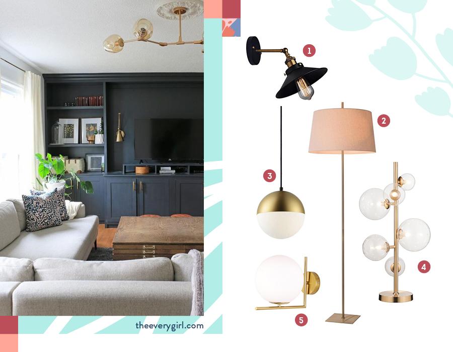 En la imagen se muestras lámparas de mesa, de pared y de techo. Todas ellas sirven para dar luminosidad y decorar tu living