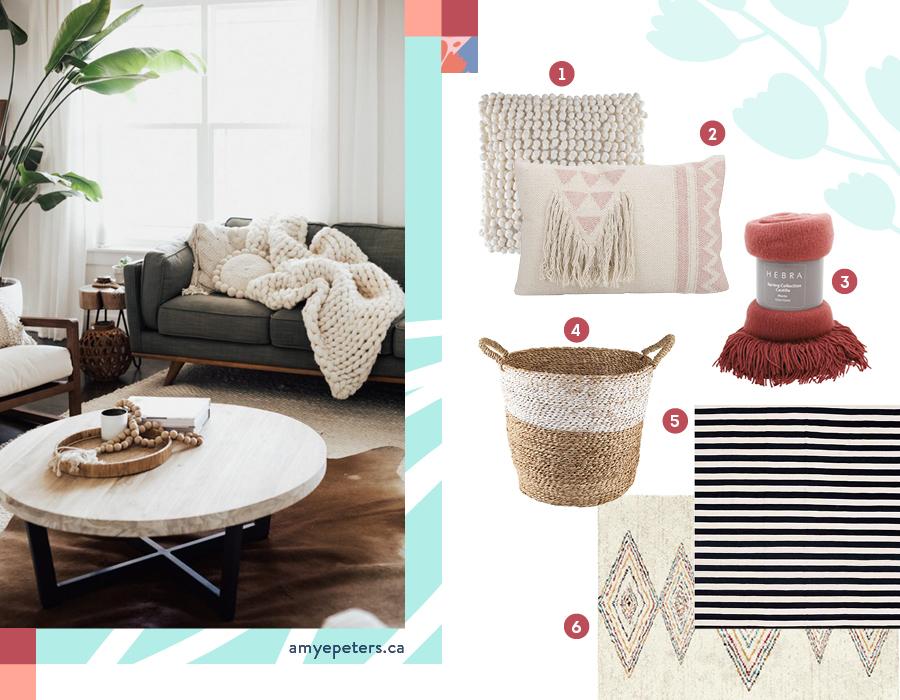 En la imagen se muestran ideas para decorar el living de una forma cálida y acogedora, como cojines en tonos crudos y cestos hechos con fibras naturales.