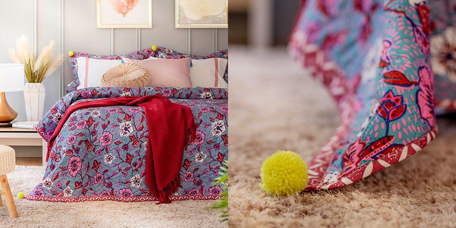 Pompones y flecos en las orillas de cubrecamas, quilts y cojines decorativos.
