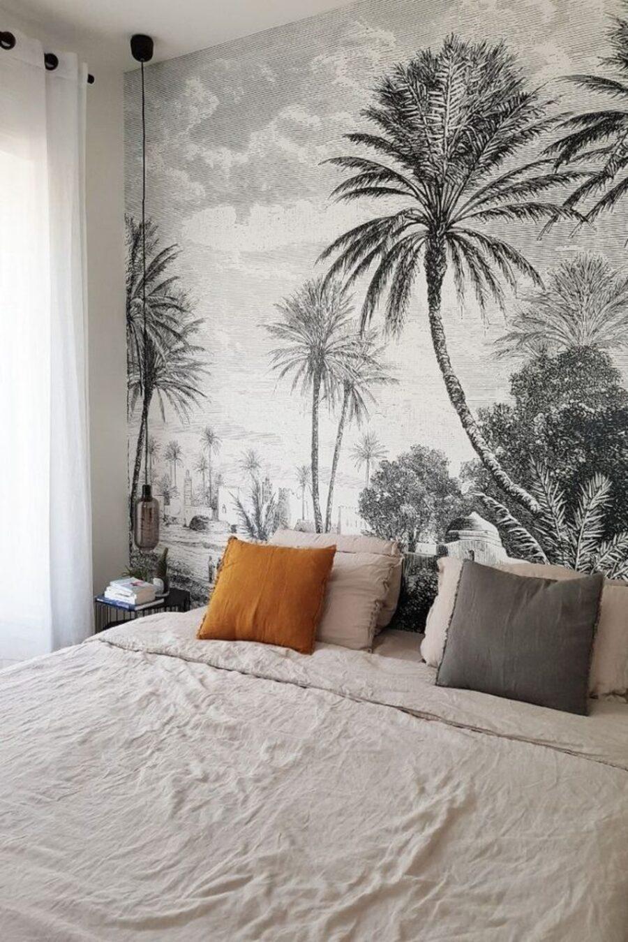 Foto mural adhesivo en una pared del dormitorio.